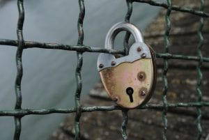A lock on the fence