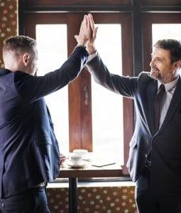 men high five