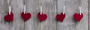 Hearts hanged on the rope